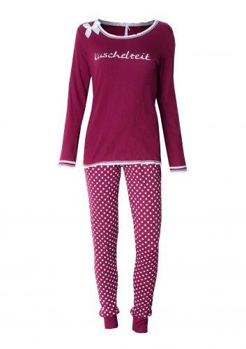 "Louis & Louisa Damen Schlafanzug/Pyjama ""KUSCHELZEIT"" MARSALA"