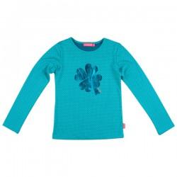 Kiezel-tje Langarm-Shirt/Longsleeve Kleeblatt dot aqua