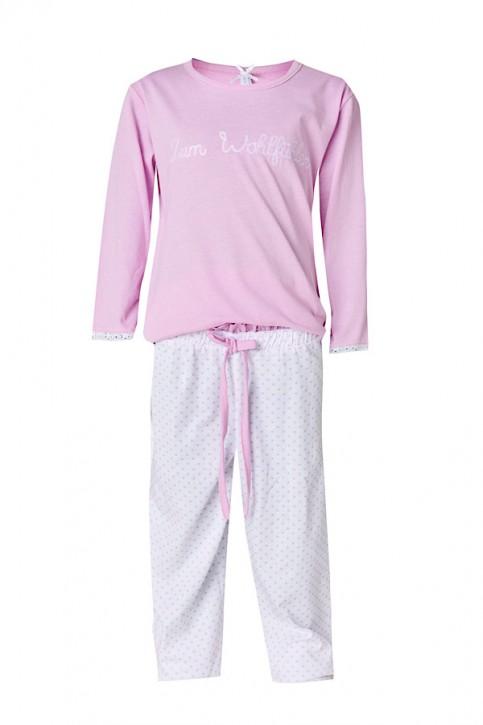 Louis & Louisa Mädchen Pyjama / Schlafanzug ZUM WOHLFÜHLEN rosa / weiss allover