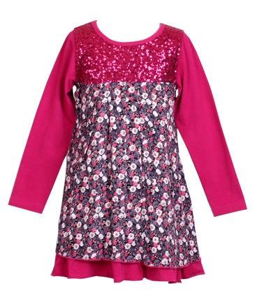 Pezzo D´oro Langarm-Kleid / Jerseykleid Blümchen dark pink