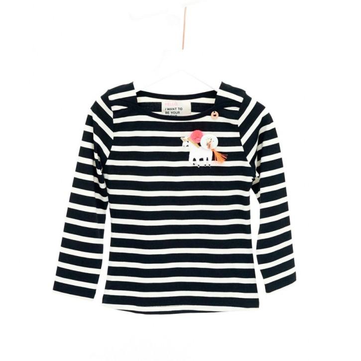 Mim-Pi Langarm-Shirt/Longsleeve Streifen Einhorn schwarz weiß