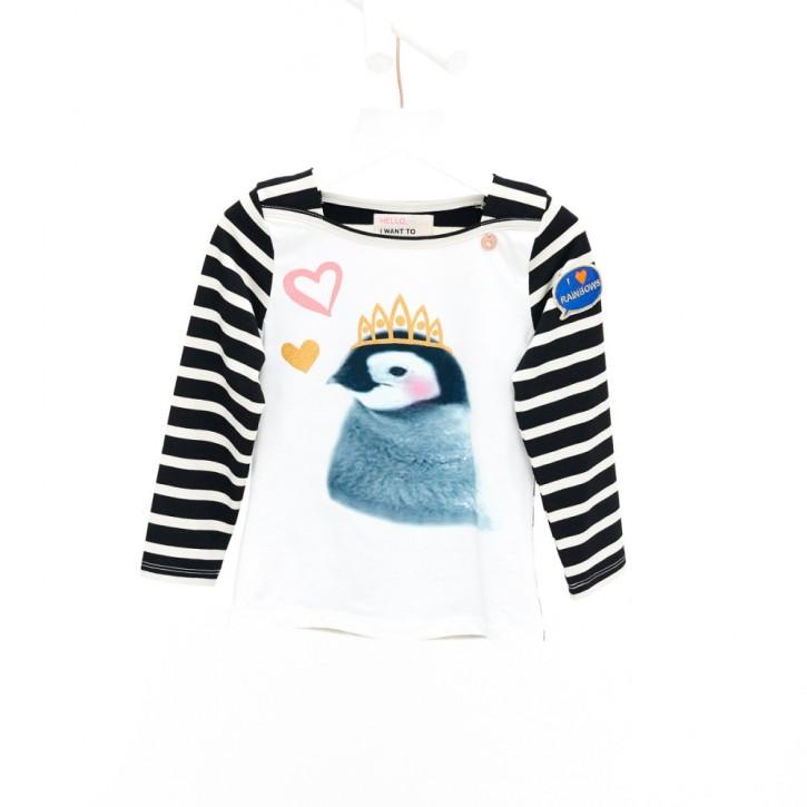 Mim-Pi Langarm-Shirt/Longsleeve Streifen Pinguin schwarz weiß