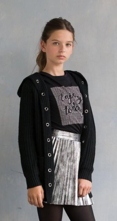 Geisha Strick-Jacke mit Kapuze schwarz