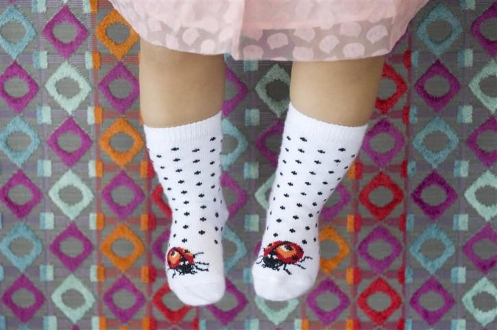 Bonnie Doon Baby Socken LADYBIRD MARIENKÄFER white