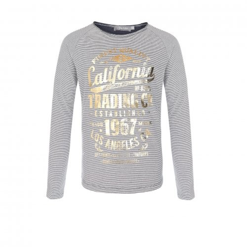 Geisha Langarm-Shirt/Longsleeve Streifen navy gold