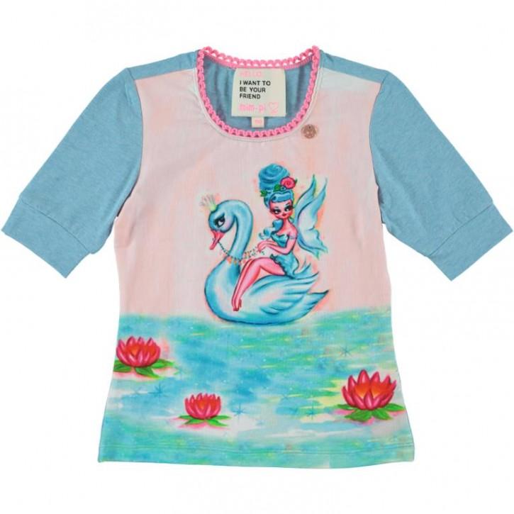 Mim-Pi T-Shirt Schwan Fee blue