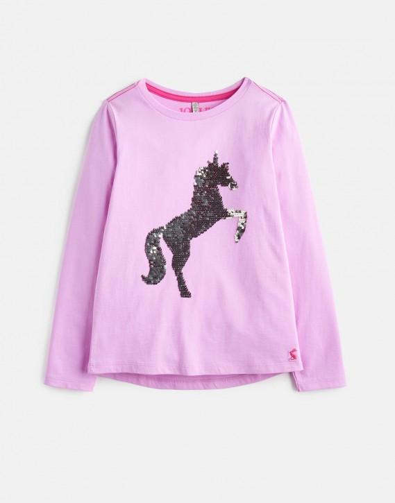 Joules Mädchen Langarm-Shirt Wendepailletten Einhorn AVA lila
