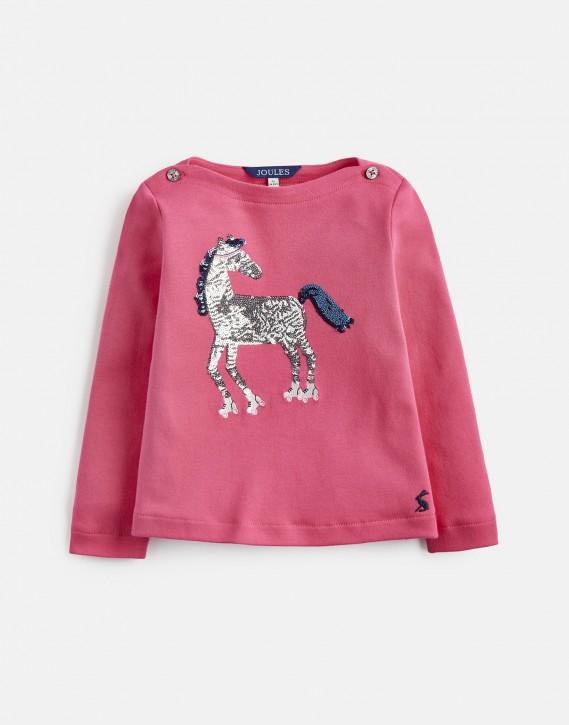 Joules Mädchen Langarm-Shirt ESME Rollschuh-Pferd tief rosa