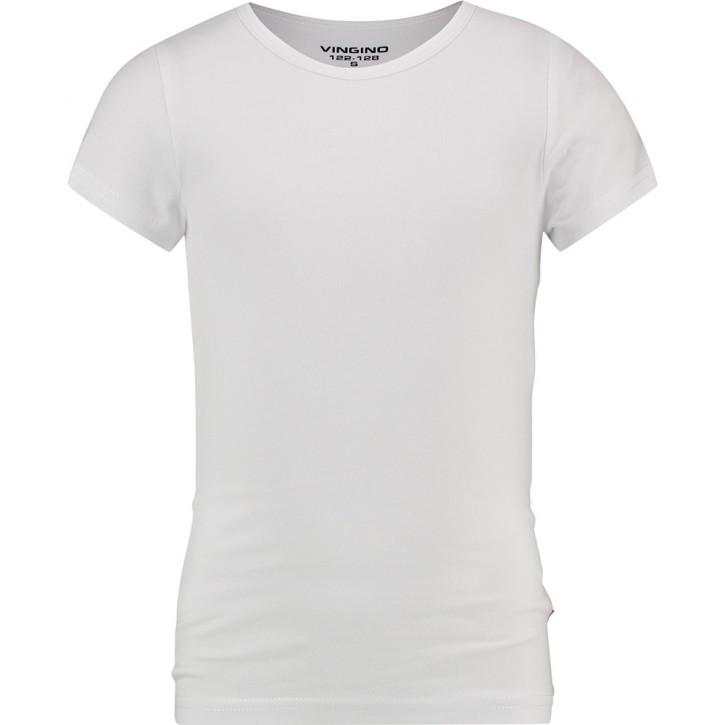 Vingino Basic-T-Shirt Girls Rundhals-Ausschnitt weiß