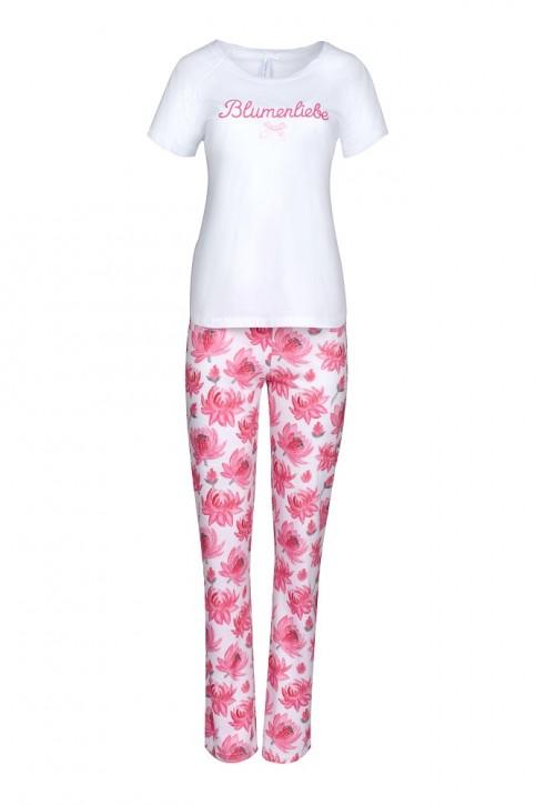 Louis & Louisa Damen Pyjama / Schlafanzug BLUMENLIEBE weiß pink allover