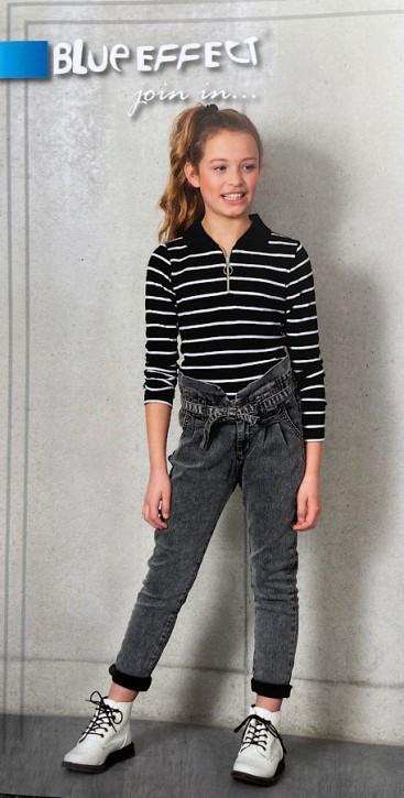 Blue Effect Mädchen Ripp-Shirt / Langarmshirt Streifen schwarz weiß