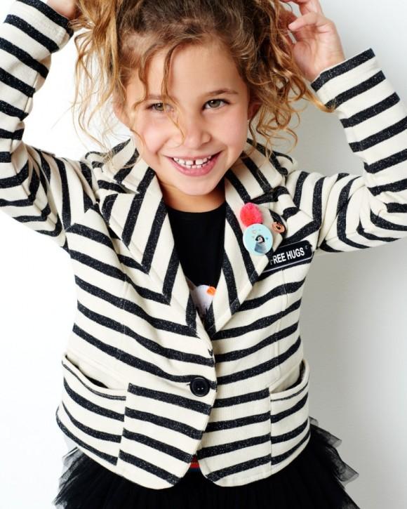 Mim-Pi Sweat-Jacke-Blazer Streifen schwarz weiß