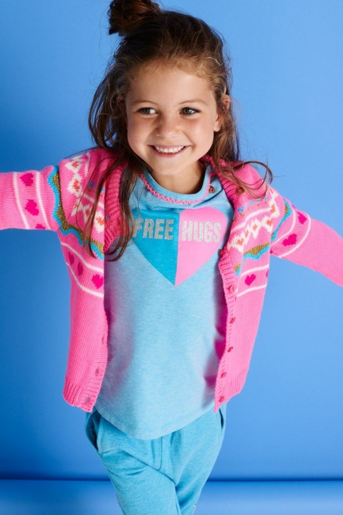Mim-Pi Langarm-Shirt/Longsleeve Herz FREE HUGS blue