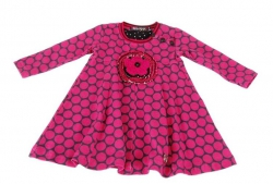 Carbone Kleid dot pink mit Applikation