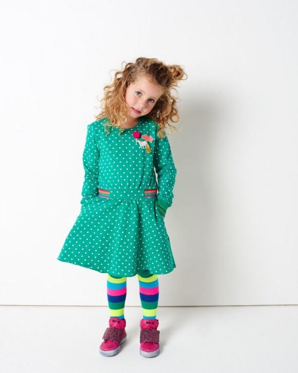 Mim-Pi Langarm-Kleid Punkte Einhorn grün