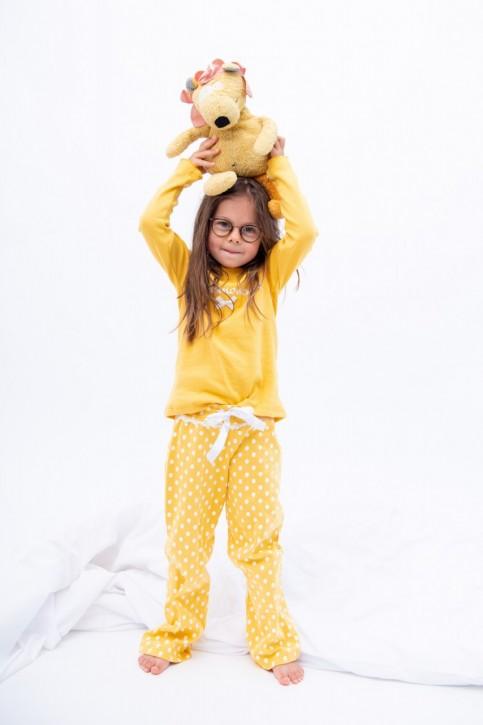 Louis & Louisa Kinder Schlafanzug/Pyjama GLÜCKSMOMENTE gelb Rippe/allover