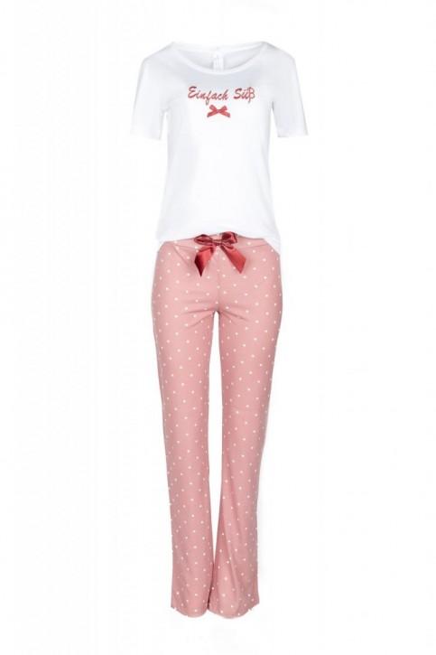 Louis & Louisa Damen Pyjama / Schlafanzug EINFACH SÜSS  weiß/oldrose allover