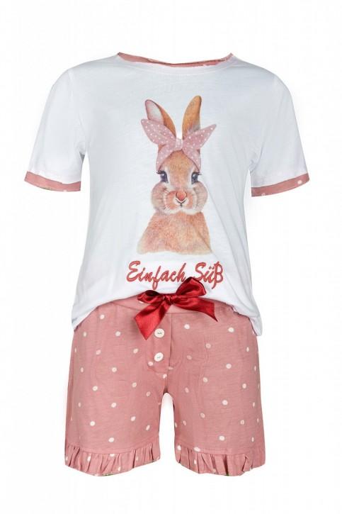Louis & Louisa Mädchen Shorty/ Schlafanzug Hase Einfach süß weiß / oldrose allover