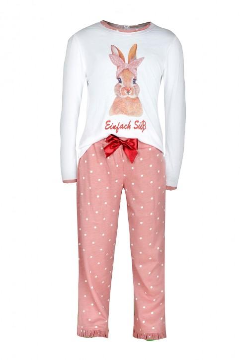 Louis & Louisa Mädchen Pyjama / Schlafanzug Hase Einfach süß weiß / oldrose allover