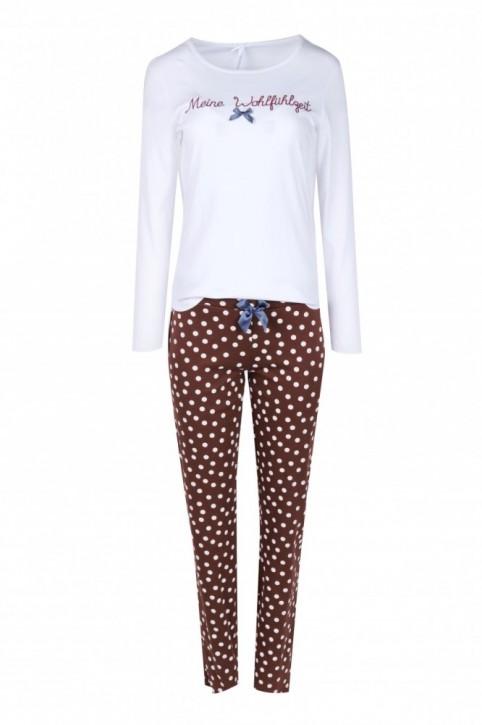 Louis & Louisa Damen Pyjama / Schlafanzug MEINE WOHLFÜHLZEIT weiß/braun allover