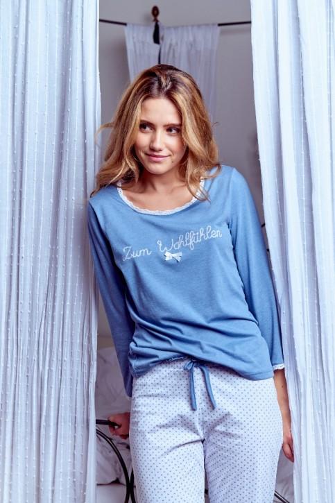 Louis & Louisa Damen Pyjama / Schlafanzug ZUM WOHLFÜHLEN mittelblau / weiß allover