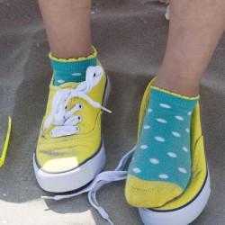 Bonnie Doon Damen Kurzsocken Dazzling Dots grün/weiß/gelb