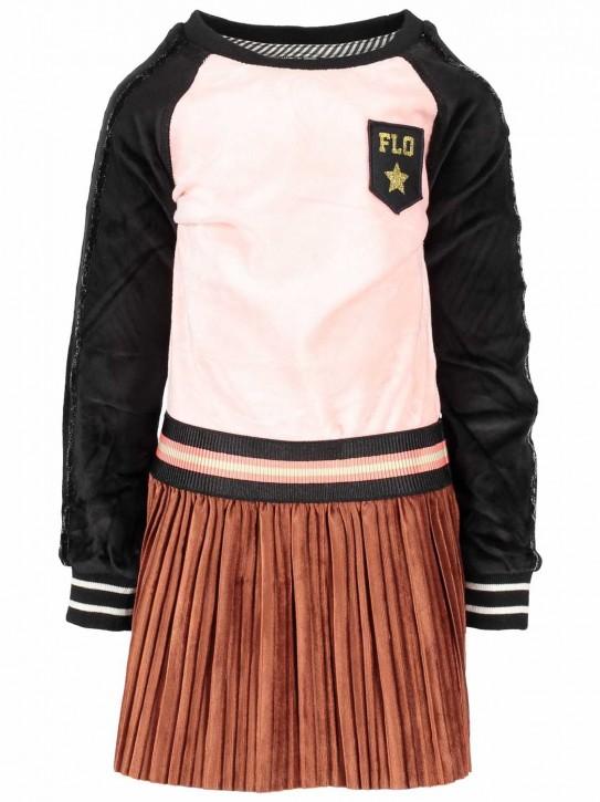 LIKE FLO Langarm-Kleid Velour Raglan Plissee old pink