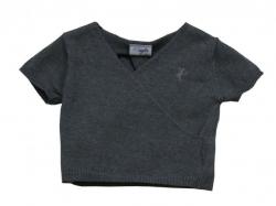 Paglie Halbarm-Pullover in Wickeloptik grey