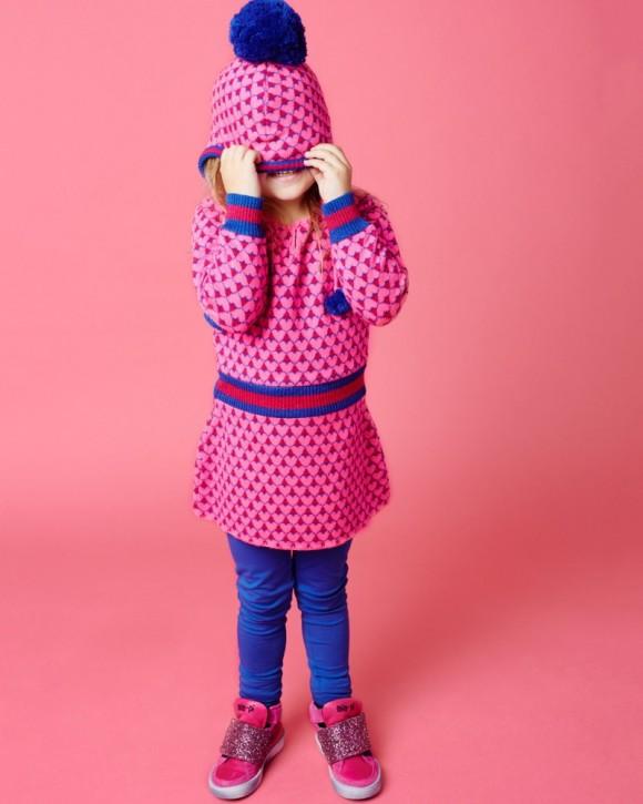 Mim-Pi Langarm-Strick-Kleid Herzen pink
