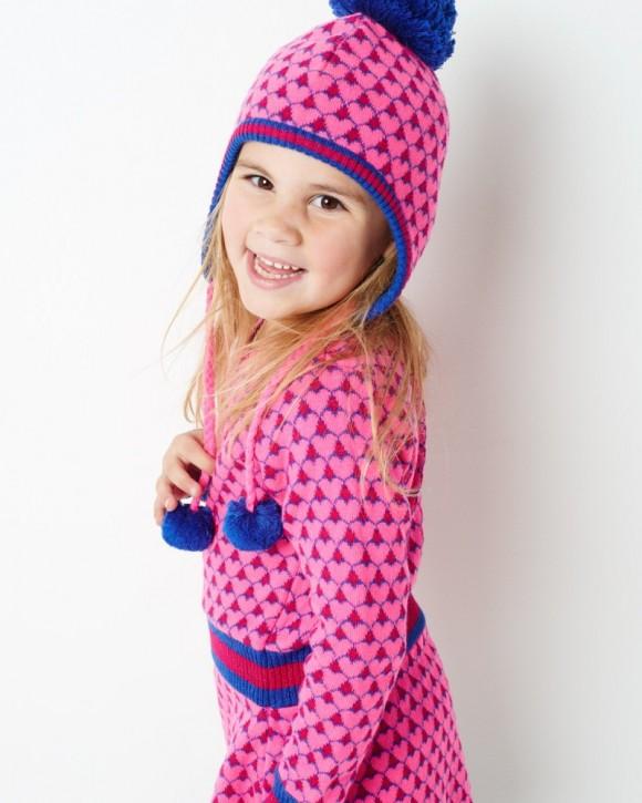 Mim-Pi Strick-Mütze Herzen pink mit Bommel
