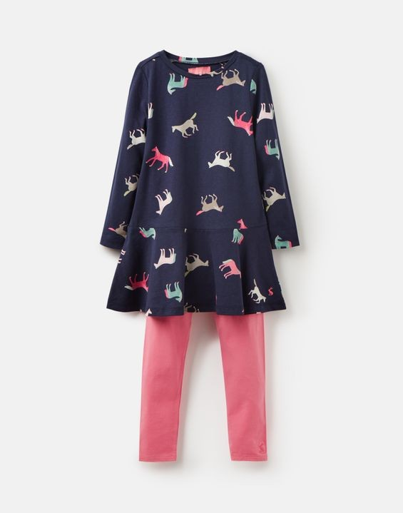 Joules Mädchen Set Langarm-Kleid/Tunika+Legging IONA Pferde