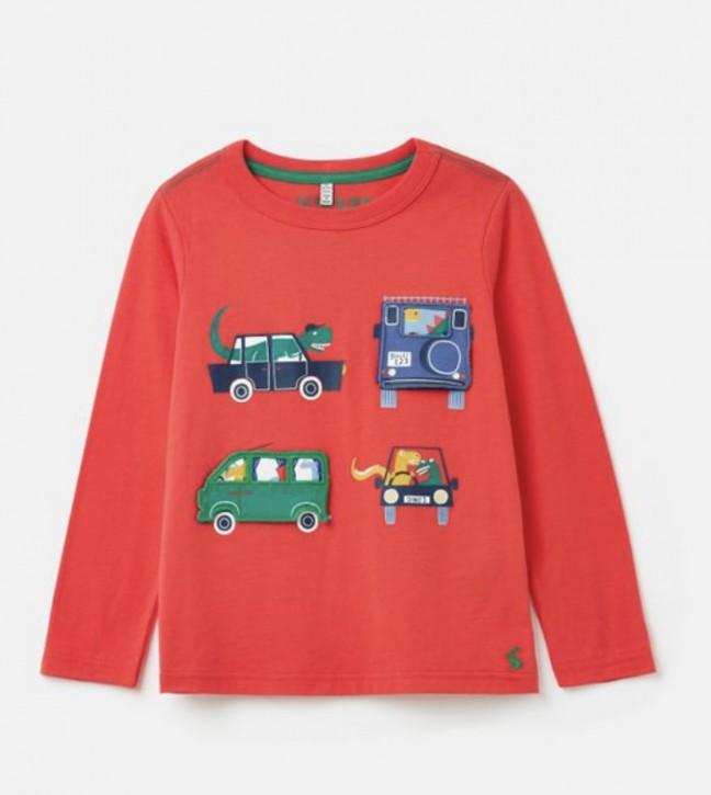 Joules Jungen Langarm-Shirt/Longsleeve CHOMP Fahrzeuge rot
