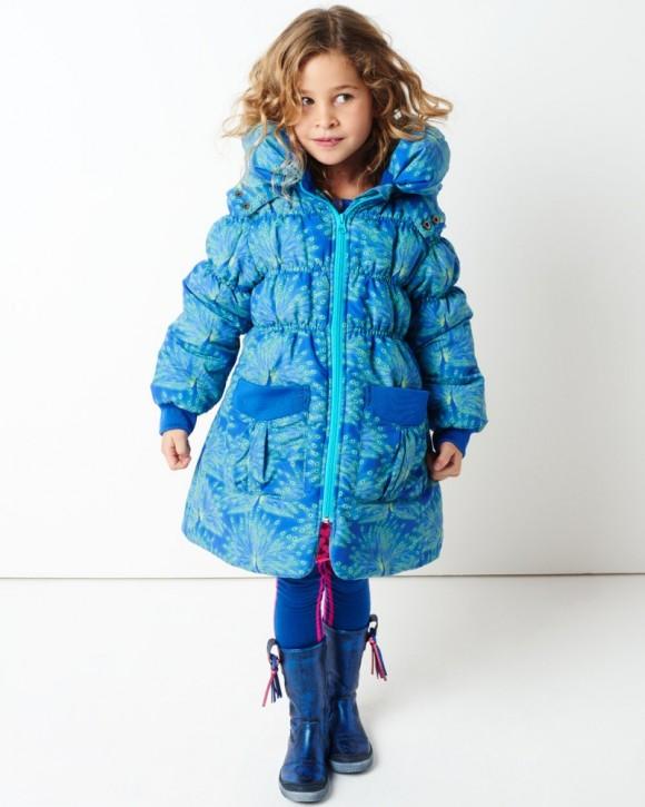 Mim-Pi Winter-Jacke/-Mantel Pfau blau grün mit Kapuze