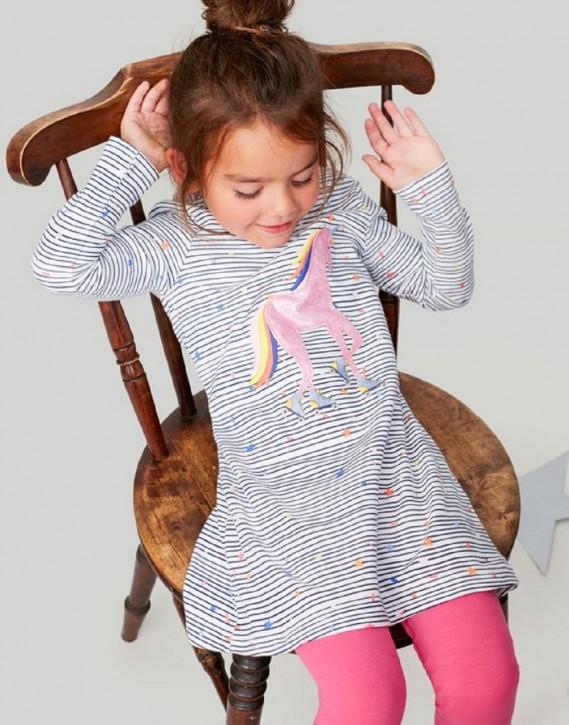 Joules Mädchen Kleid KAYE Einhorn-Applikation Streifen