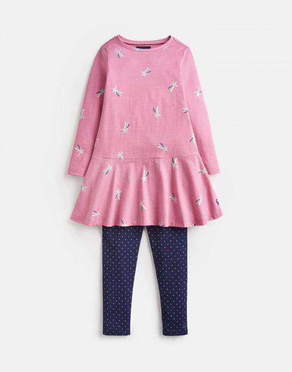 Joules Mädchen Set Langarm-Kleid/Tunika+Legging IONA Sternschnuppen rosa