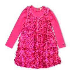 Pezzo D´oro Kleid mit Rosen pink 2-tlg