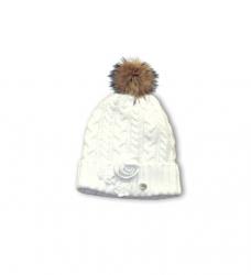 Pezzo D´oro Strick-Mütze mit Bommel gefüttert offwhite