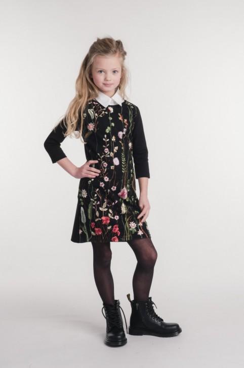 KIE stone Langarm-Kleid mit Tüllspitze Blumen schwarz