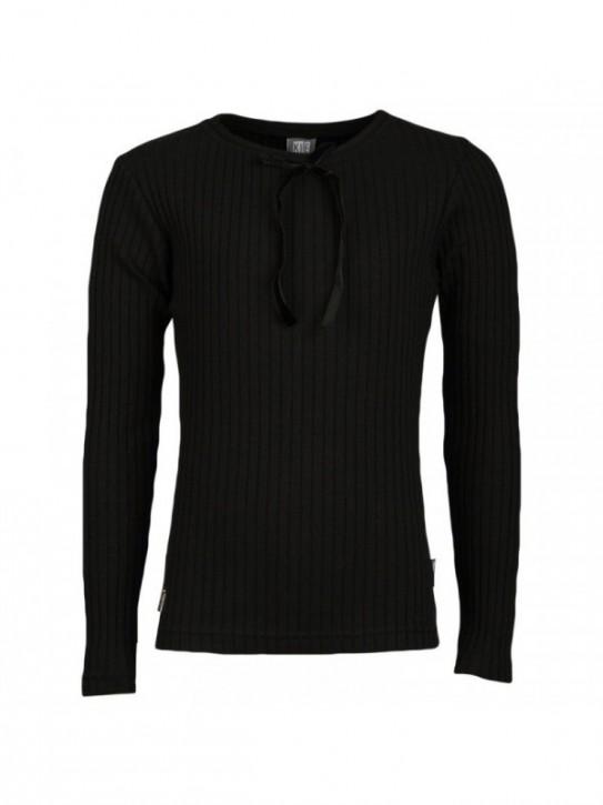 KIE stone Langarm-Shirt/Longsleeve gerippt schwarz