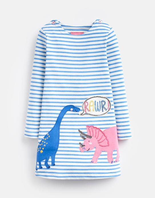 Joules Mädchen Langarm-Kleid KAYE Streifen Dino-Applikation
