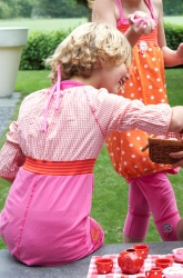 Kiezel-tje Kleid/Tunika Karo orange-weiss