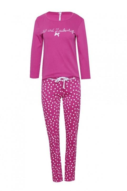 Louis & Louisa Damen Pyjama / Schlafanzug SÜSS UND ZAUBERHAFT pink / Punkte allover