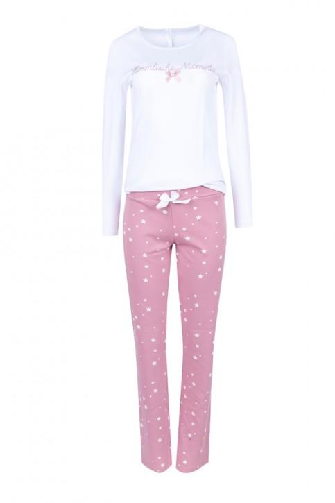 Louis & Louisa Damen Pyjama / Schlafanzug HIMMLISCHE MOMENTE weiß / rosa allover