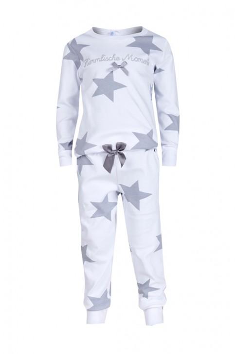 Louis & Louisa Mädchen Schlafanzug/Pyjama HIMMLISCHE MOMENTE weiß allover