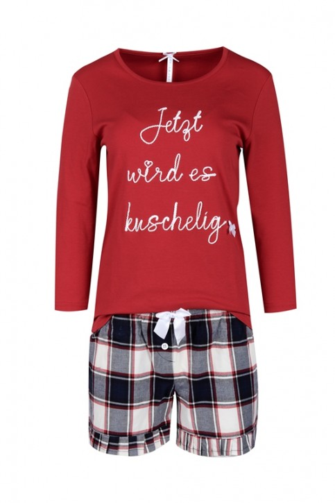 "Louis & Louisa Damen Shorty/Pyjama ""Heute wird es kuschelig"" navy Karo Flanell"