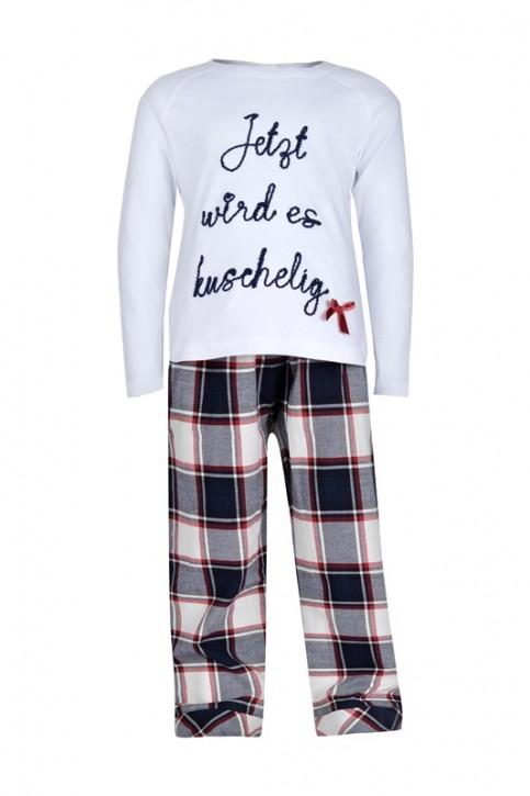 Louis & Louisa Mädchen Schlafanzug/Pyjama JETZT WIRD ES KUSCHELIG weiß flanell