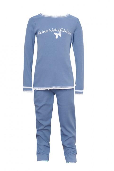 Louis & Louisa Mädchen Schlafanzug/Pyjama MEINE WOHLFÜHLZEIT Rippe infinity blau