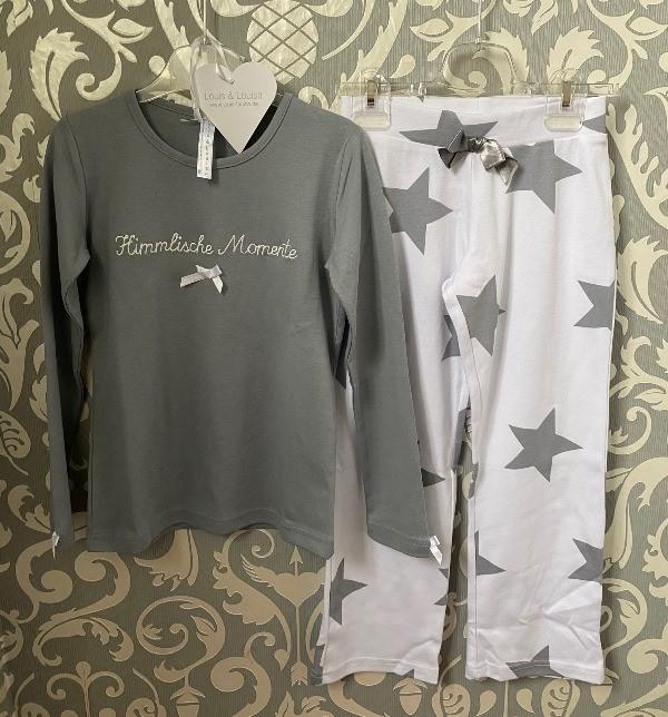 Louis & Louisa Mädchen Schlafanzug/Pyjama HIMMLISCHE MOMENTE grau/weiß allover