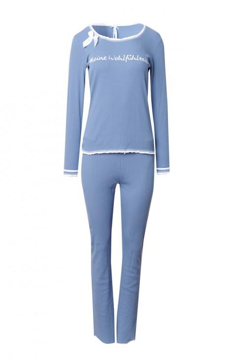 Louis & Louisa Damen Schlafanzug/Pyjama Rippe MEINE WOHLFÜHLZEIT infinity blau