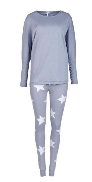 Louis & Louisa Damen Schlafanzug/Pyjama Oversize HIMMLISCHE MOMENTE grau/grau Sterne allover